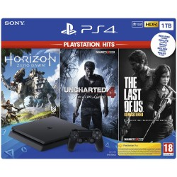 SONY Console PS4 1 TB + 3 Giochi Playstation Hits (Horizon Zero Dawn + The Last of Us + Uncharted 4)