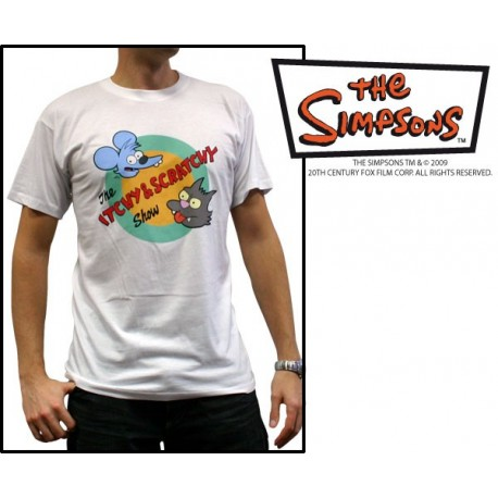 "SIMPSONS T-Shirt Homme Bianca ""Itchy & Scratchy"""