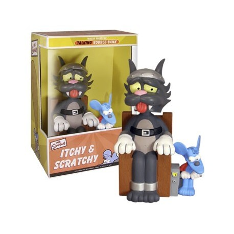 SIMPSONS - Bobble Bank Sonore Itchy & Scratchy 30cm